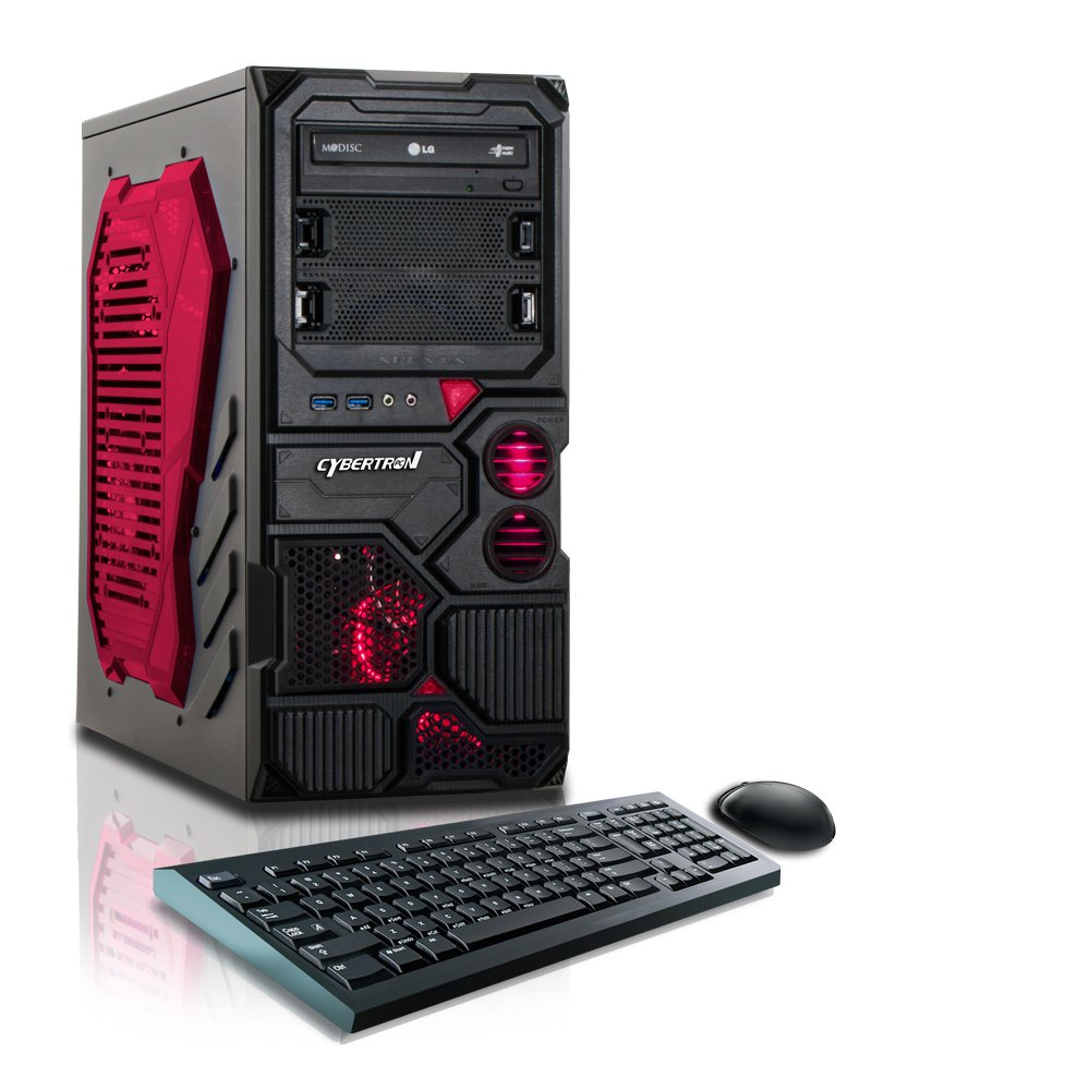 red computer with mouse and keyboard